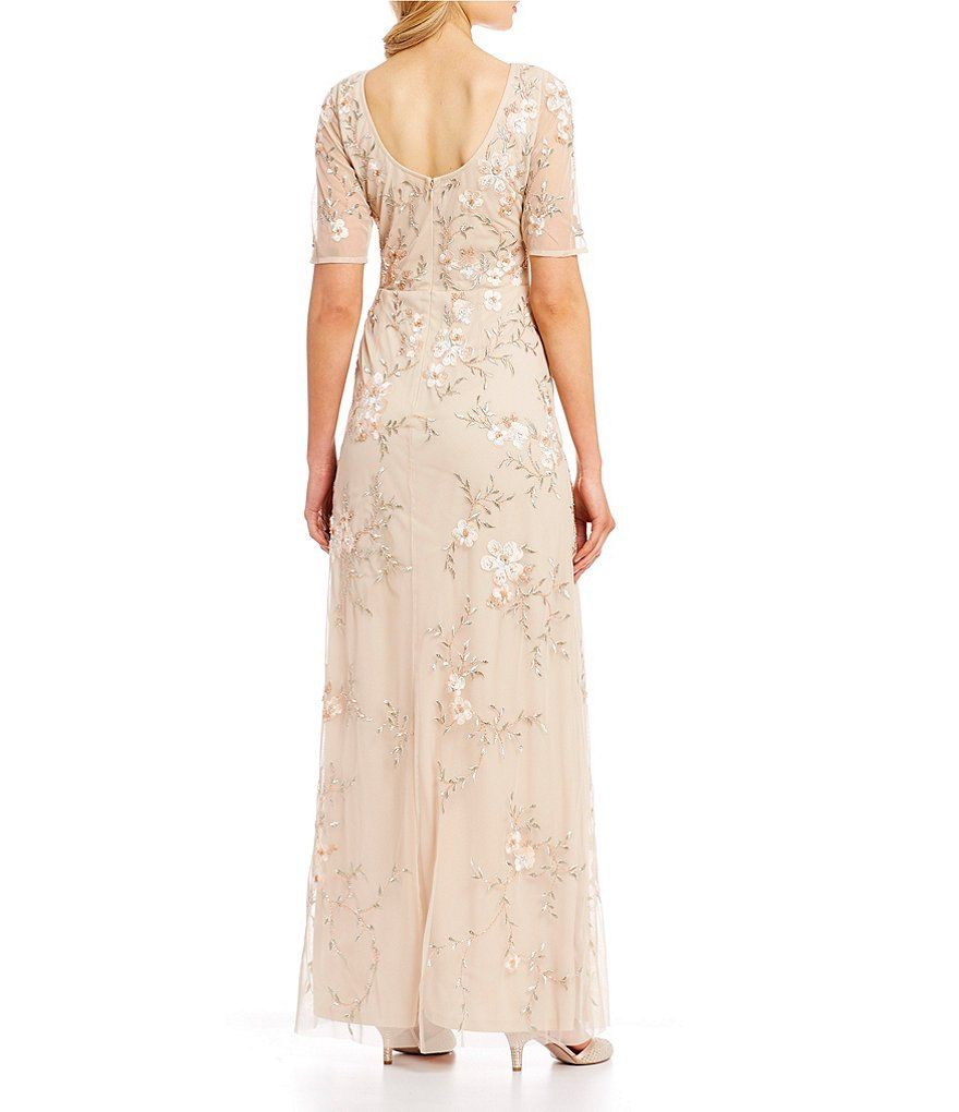 Tahari Asl Embroidered A Line Gown Dillard S In 2020 Beaded Dress Long Evening Dresses Dresses