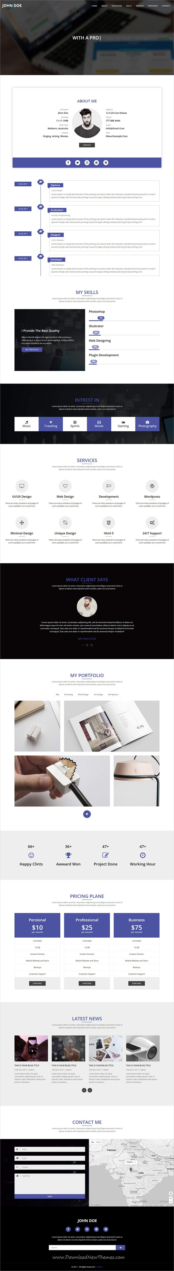 OnePager - Responsive one page multipurpose HTML Template