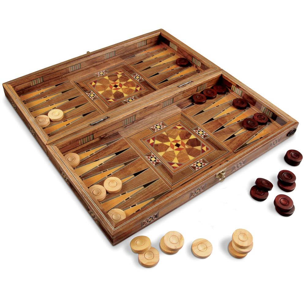 """BACKGAMMON SET WOODEN BOARD GAME REAL WOOD INLAID HAND MADE-18/"""""""