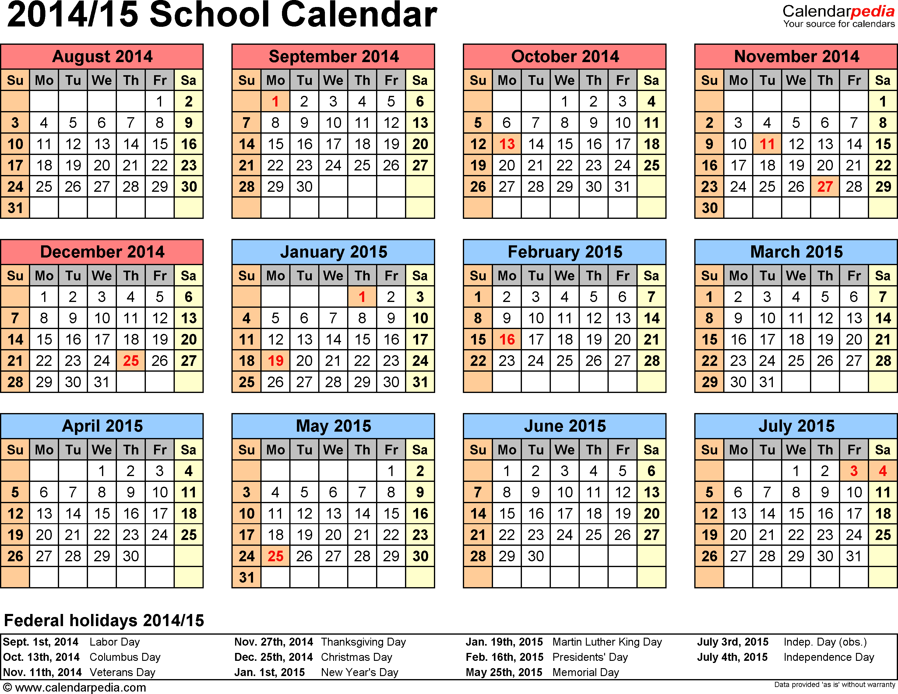2015 Calendars Template 4 School Calendar 201415 For Word
