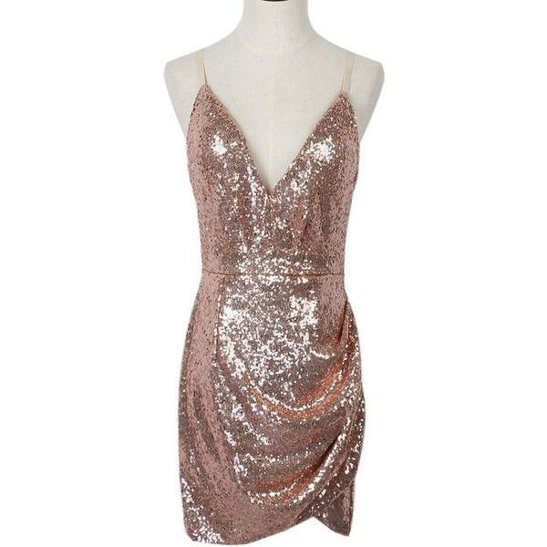 b860a4c079ca Pink Sequin Plunge Draped Wrap Strappy Back Cami Dress via Polyvore  featuring dresses, sequin cami, brown wrap dress, pink cami, pink dress and  sequin wrap ...