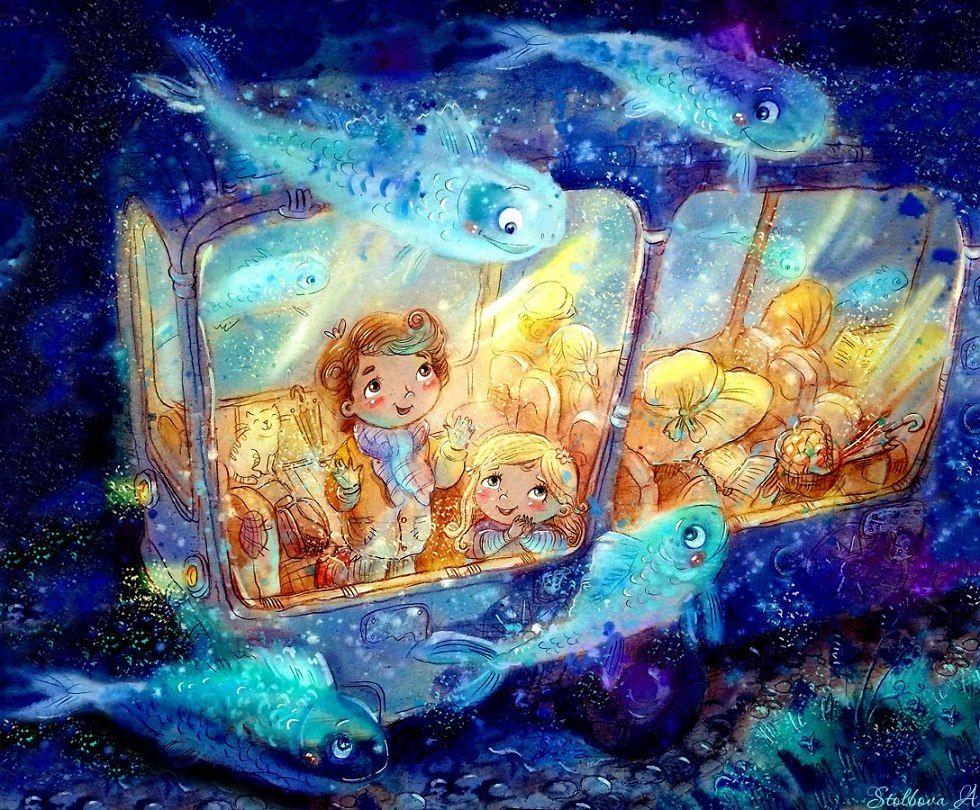 художник-иллюстратор Столбова Анастасия, автобус, детство ...