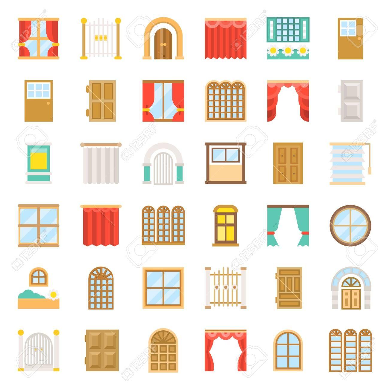 Modern Vintage Door And Window Vector Icon Set Flat Design Affiliate Door Window Modern Vintage Vector Fitness Logo Design Logo Design Design