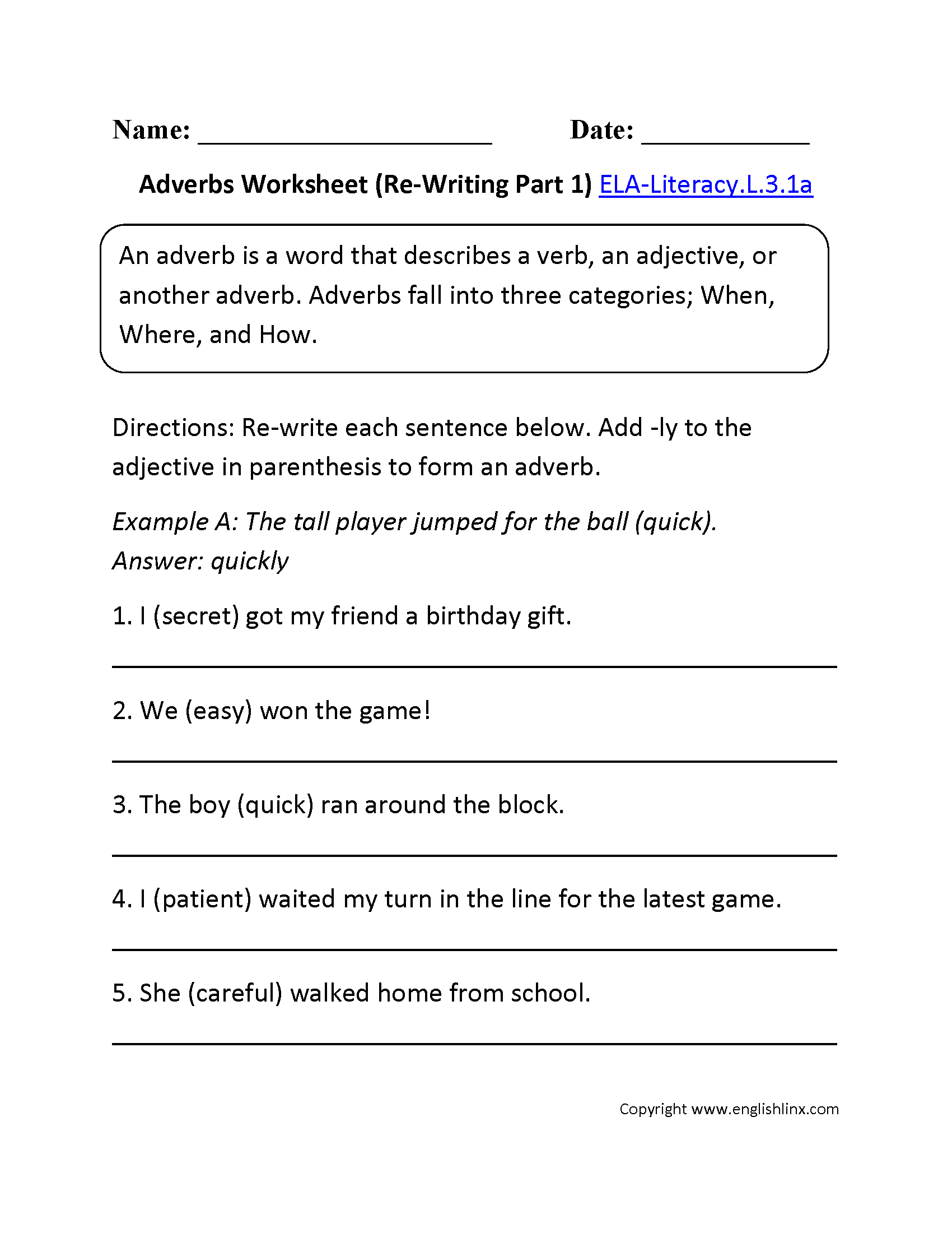 Adjectives Worksheet 1 ELALiteracyL31a Language Worksheet – Common Core English Worksheets