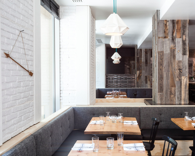 stikwood restaurant hock farm remodelista dramatically improving your space stikwood wood wall decor - Farmhouse Restaurant Ideas