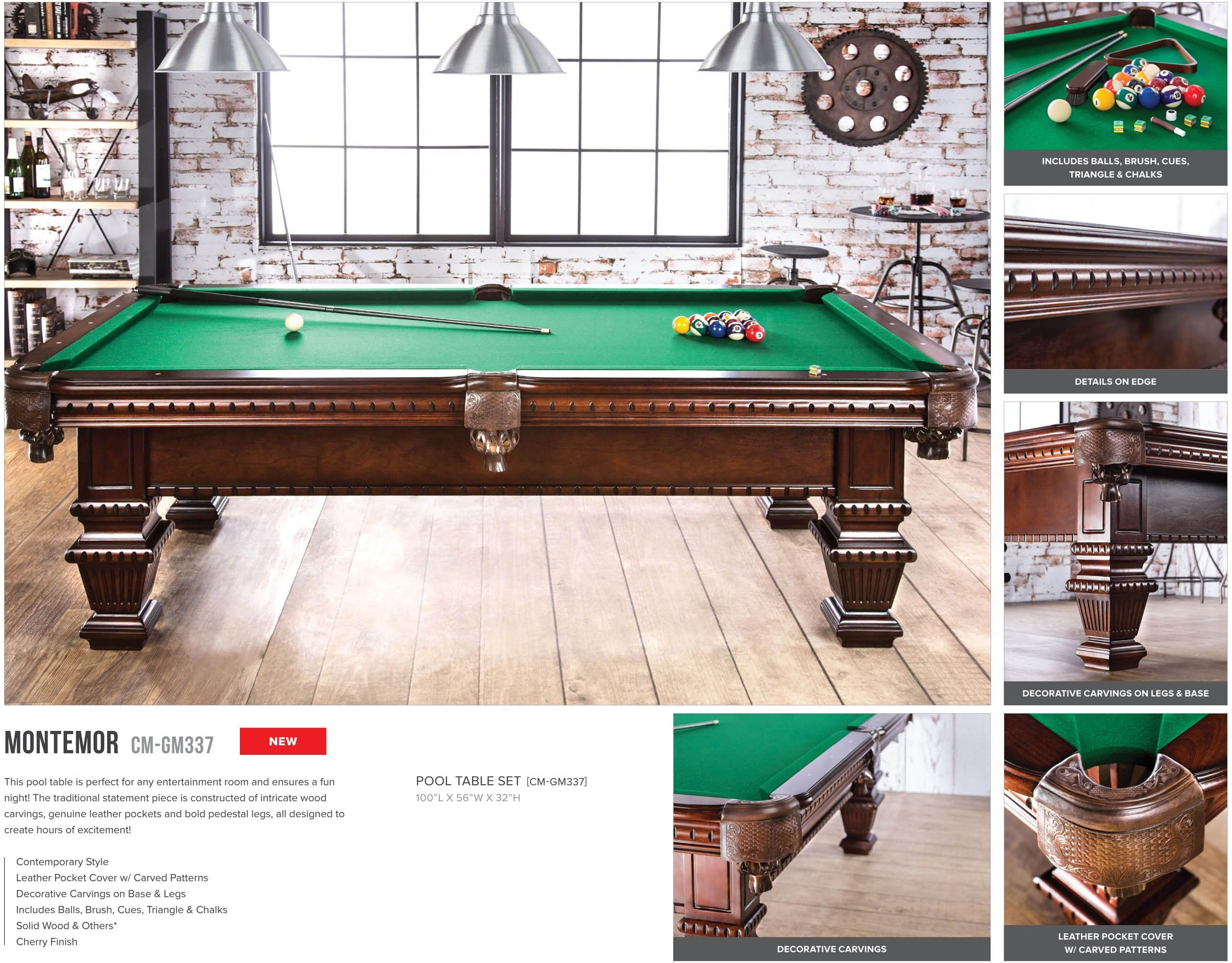 Montemor Pool Table Set Wood And Genuine Leather Pockets CM GM337 Furniture  Of America