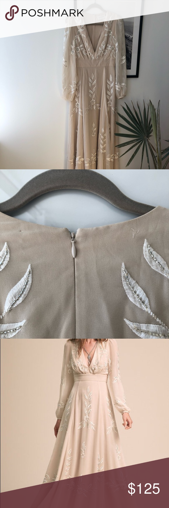 BHLDN Belize Dress Size 8 With a plunging neckline, gorgeous embroidery, and subtle beading, this dress offers endless possibilities. It's equally perfect for engagement photos, a casual beach wedding, a reception look, or a honeymoon date night  Used Once BHLDN Dresses Wedding #beachhoneymoonclothes