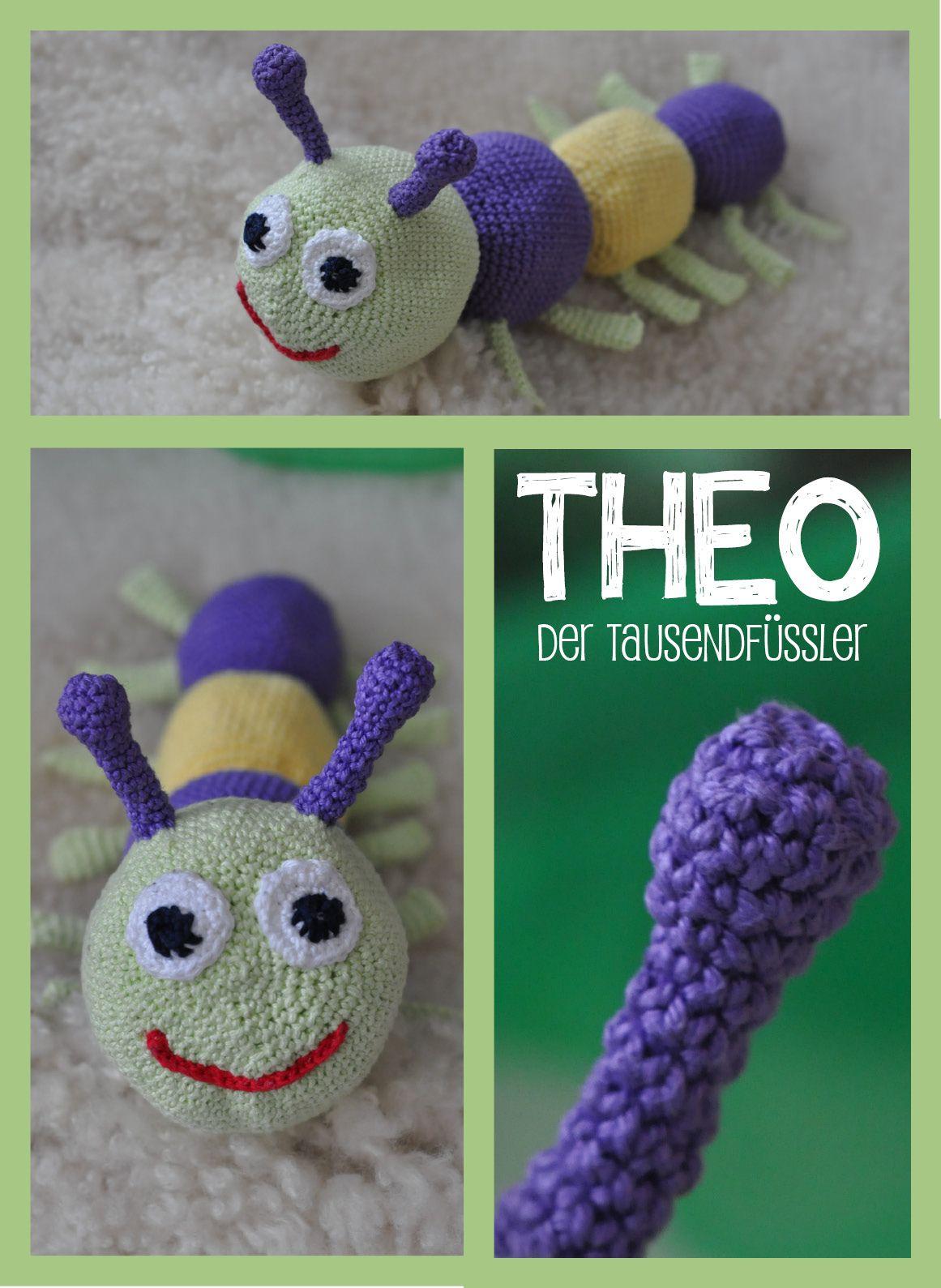 DIY crochet caterpillar, worm, millipede. Easy to crochet. Filled ...