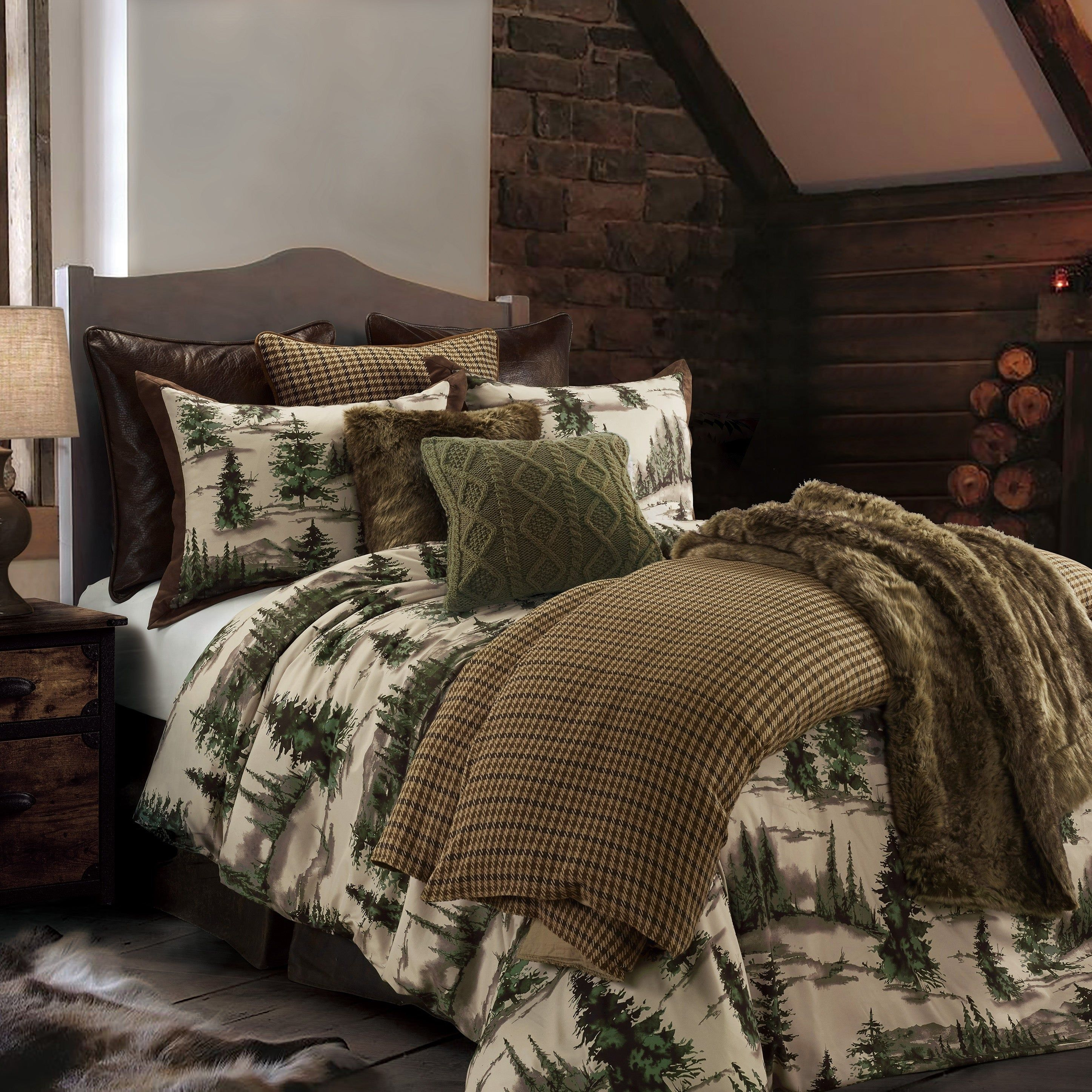 Hiend Accents Joshua Comforter Set Super Queen Brown Green