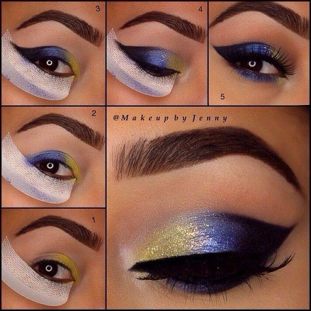 unique elegant eyeshadow tutorialusing blue and gold my