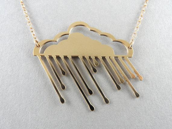 pluie de nuage or collier nuage pluvieux par BonnyRabbitBoutique
