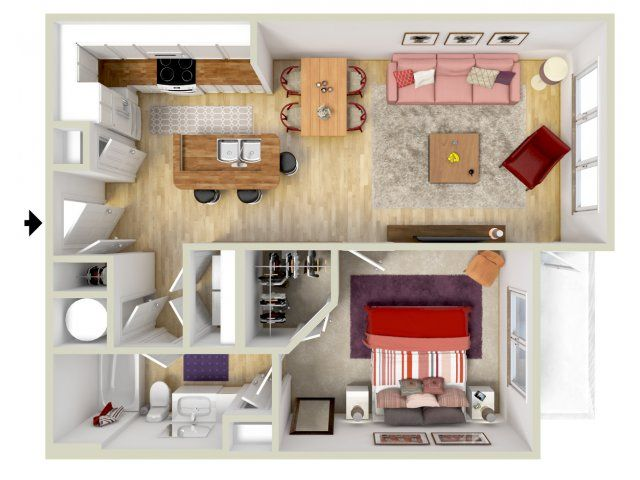 1 Bedroom Tuscan Floor Plan 3d Rendering Brand New