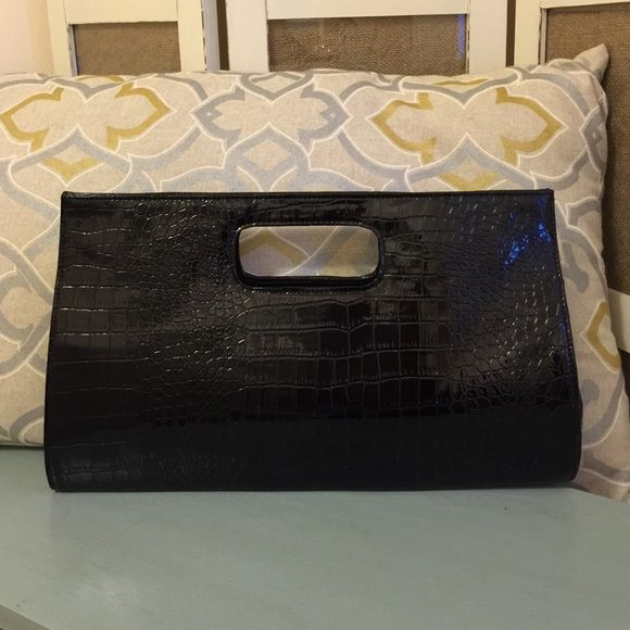 """New Faux Croc Leather Handle Clutch New, never used. 15"""" wide, 9.5"""" height. Forever 21 Bags"""