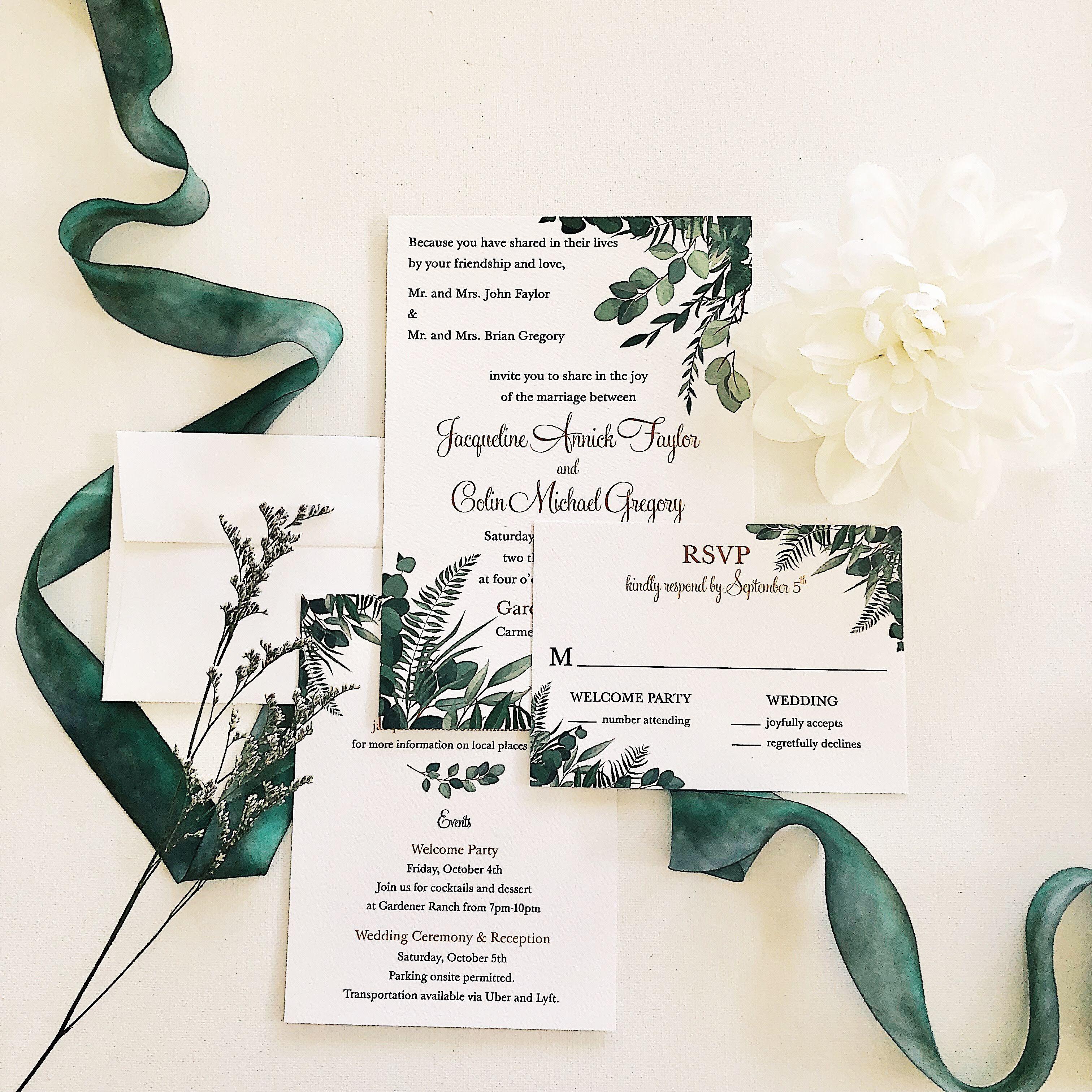 Dark Green Decorative Greenery And Eucalyptus With Elegant Font