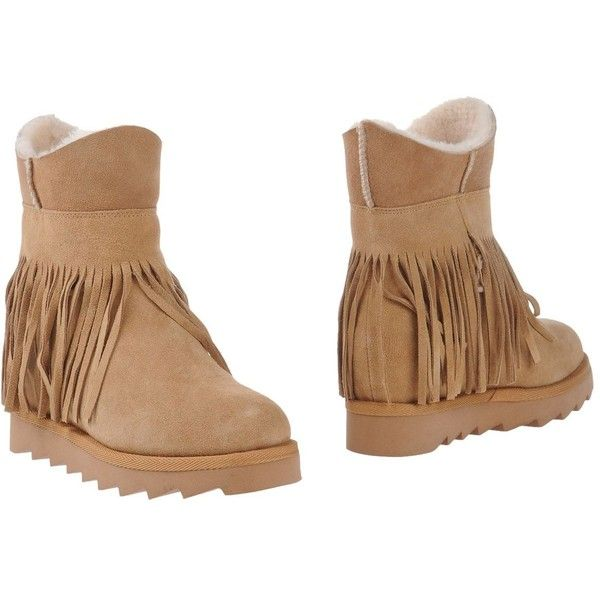 Ash Ankle Boots ($215) ❤ liked on Polyvore featuring shoes, boots, ankle booties, camel, wedge ankle boots, hidden wedge booties, wedge ankle booties, wedge booties and leather boots