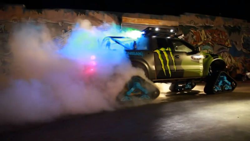 ken block kills all the rubber in this raptortrax four tread burnout rh pinterest com