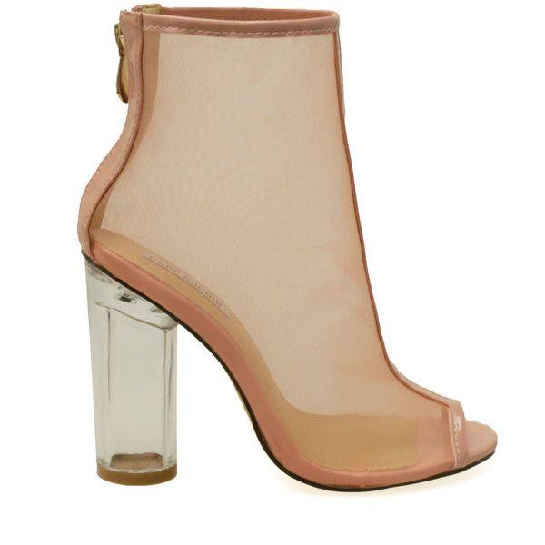 a2f253fe1e1 Benny-2 Dust Rose Mesh Peep Toe Clear Chunky Heel Booties ($35 ...