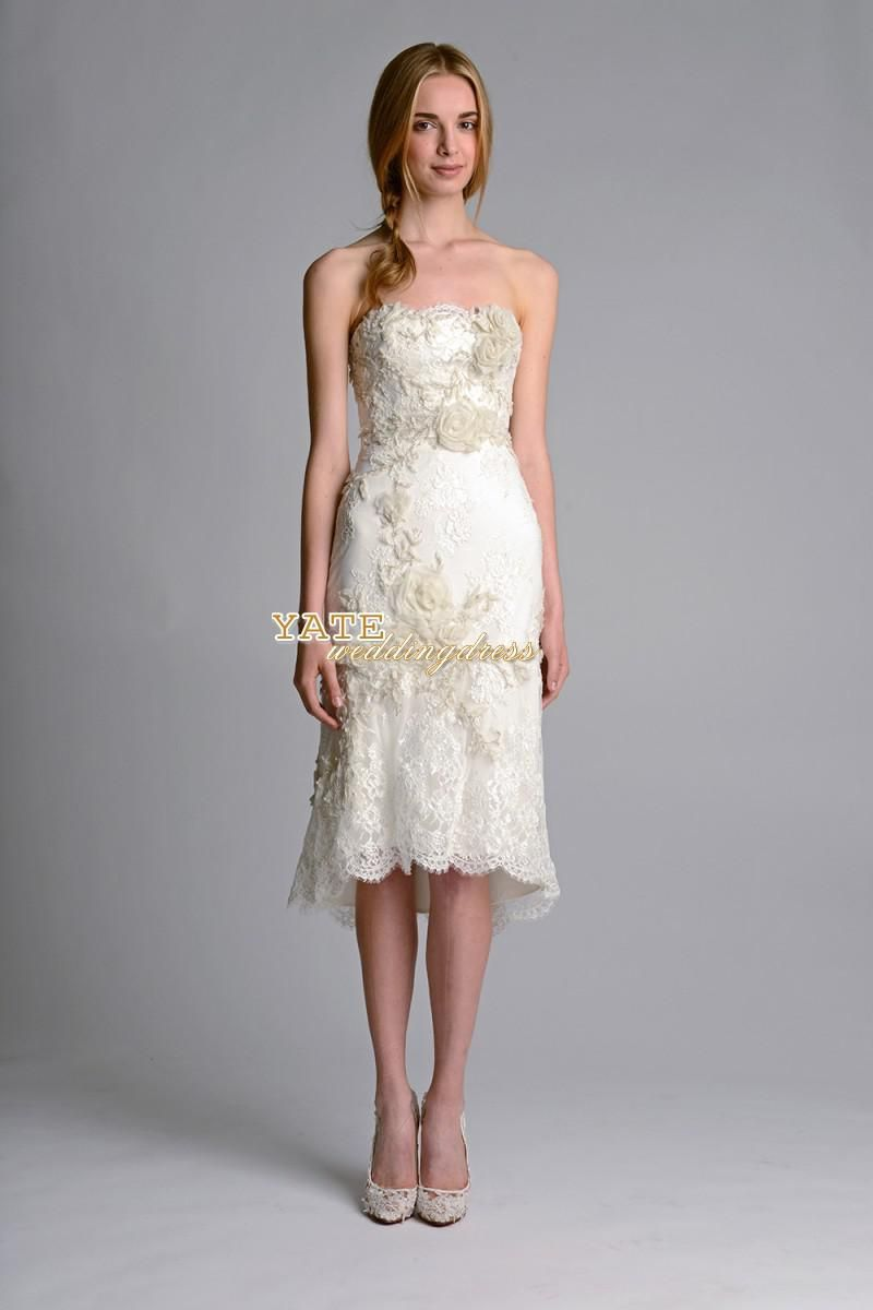 Lace dresses for wedding reception  Marchesa  Strapless Short Aline Wedding Dresses Lace Applique