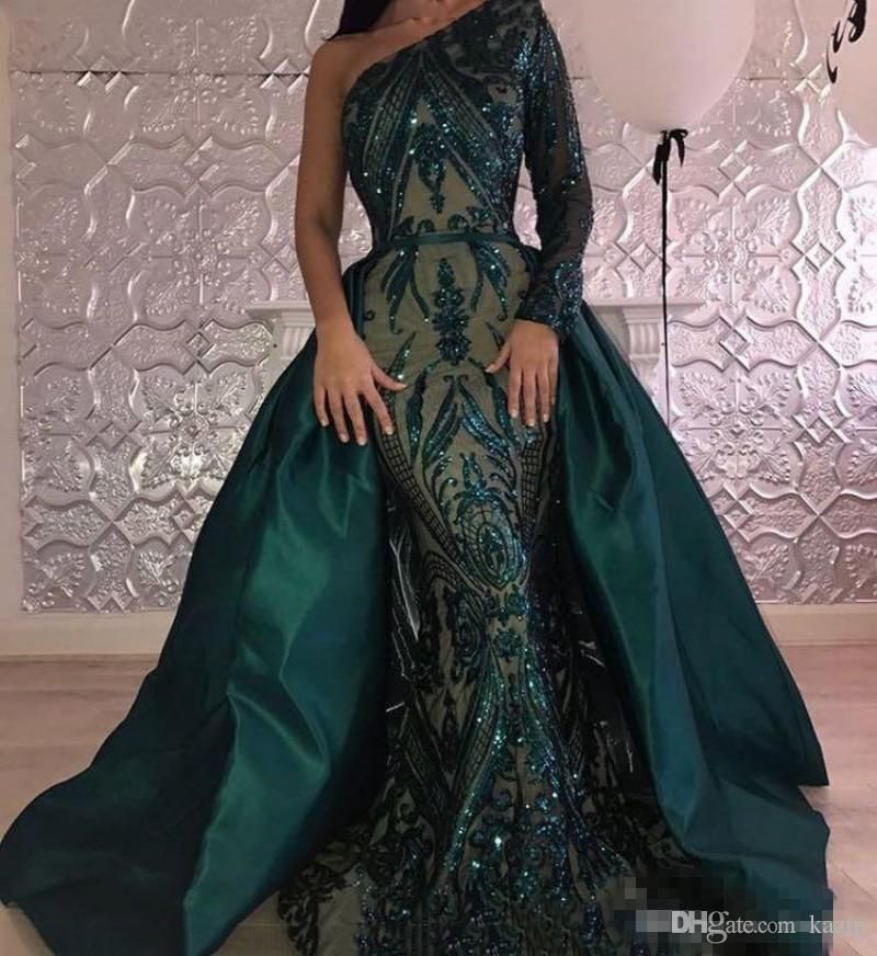 96d211c979c51 ... Evening Dresses 2018 One Shoulder Zuhair Murad Dresses Mermaid Sequined  Prom Gown With Detachable Train Custom Made Mermaid Wedding Dress Long  Sleeve ...