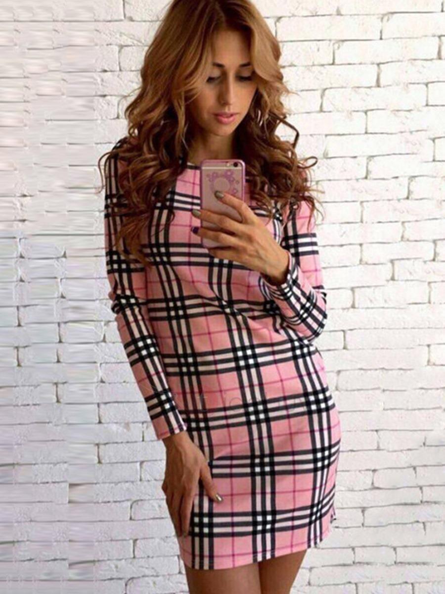 Tidebuy tidebuy print long sleeves straight fit womens dress
