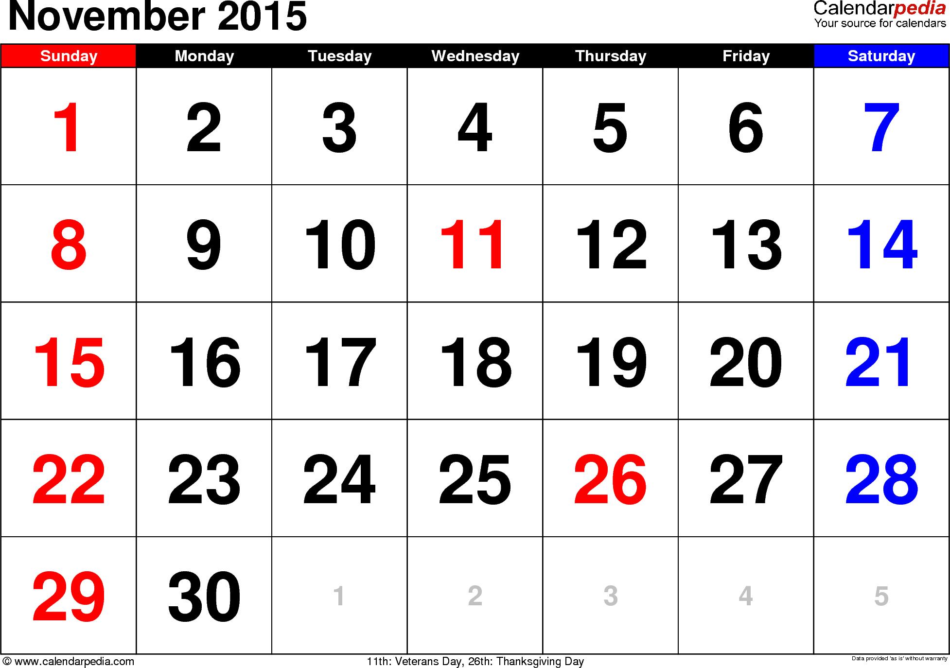 November 2015 Calendar With Holidays November 2015 Calendar Calendar Printables Free Printable Calendar Calendar Template