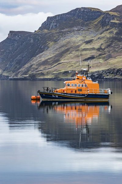 'Portree lifeboat, RNLB Stanley Watson Barker, anchored in Portree Harbour' by Bruce Parker on artflakes.com as poster or art print $6.48