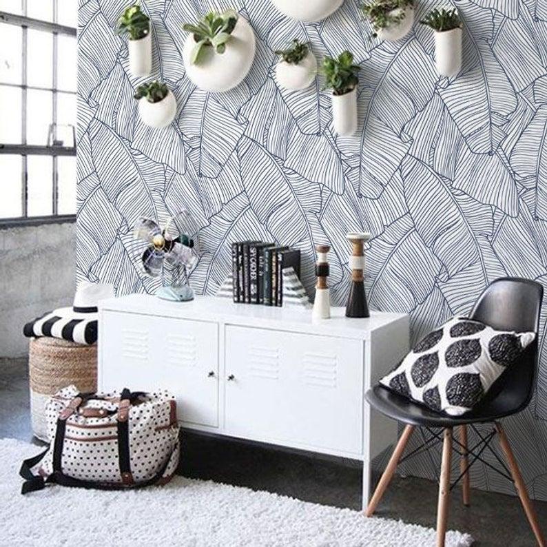 Banana Leaf Navy Pattern Removable Wallpaper Peel