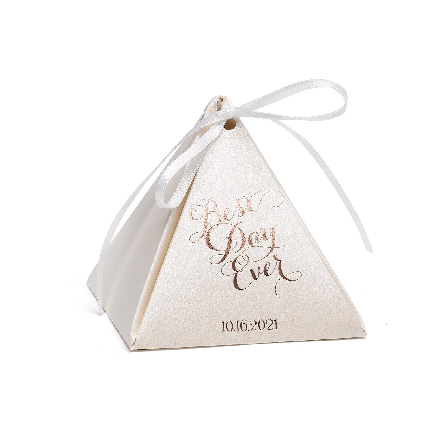 Personalized Ecru Shimmer Pyramid Favor Box - Best Day Ever | Products