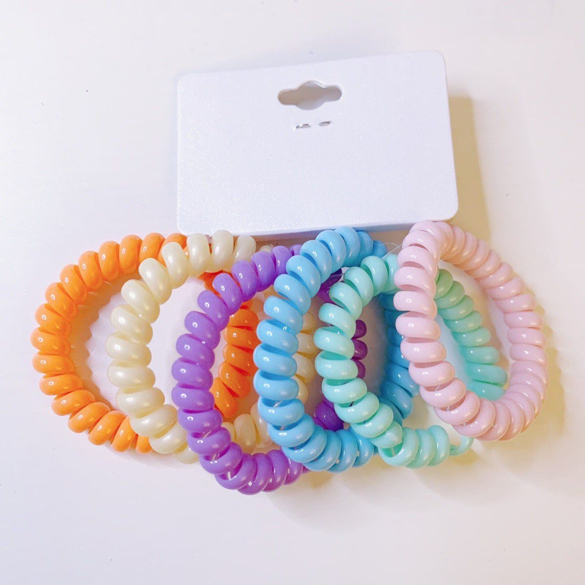 Women Transparent Telephone Wire Hair Ring With Box Rubber Band Hair Scrunchies