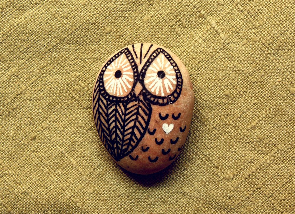 painted rocks | Hand Painted Rock Owl by ...