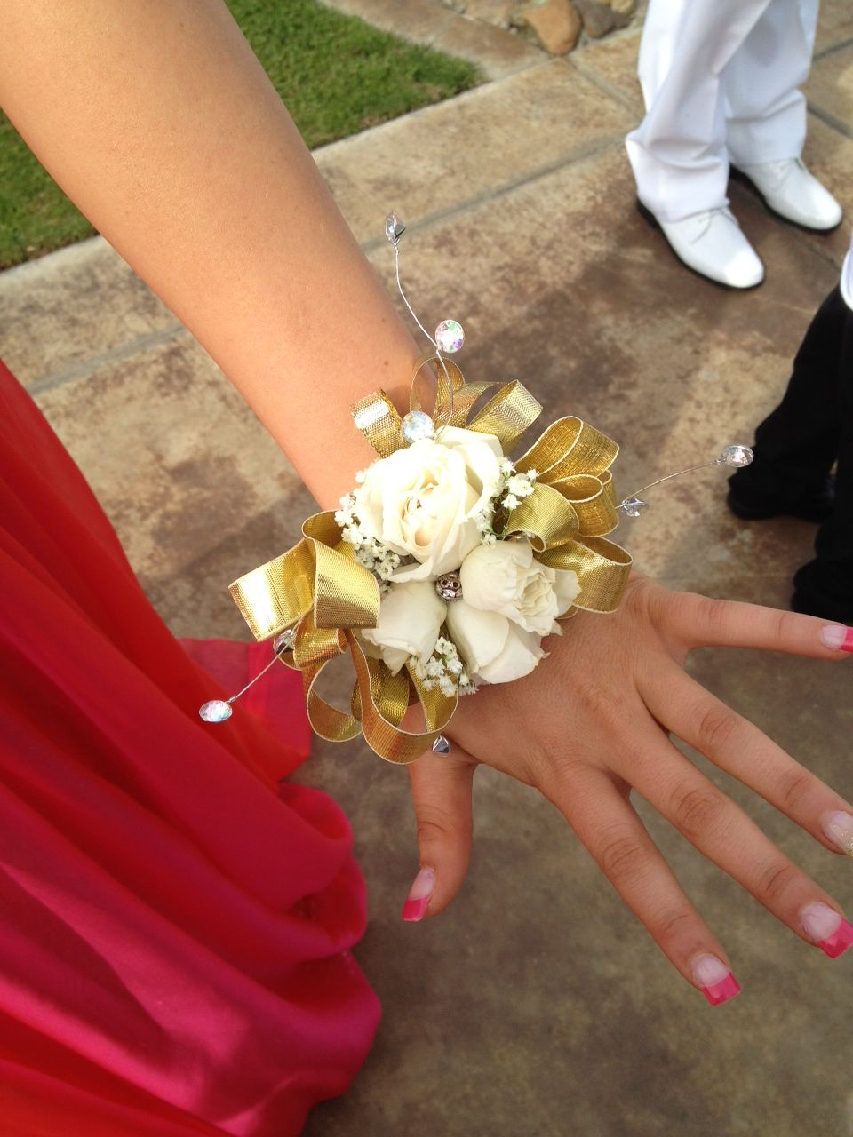 Corsages gold and white my creations pinterest