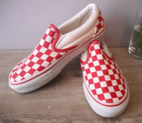 32312eebef285c vintage Red White checkered Vans guys 4 1 2 4.5 Womens 7 via Etsy