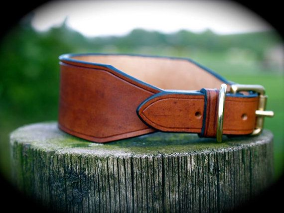 English Leather Handmade & Hand Stitched Lurcher/Hound/whippet/greyhound Collar