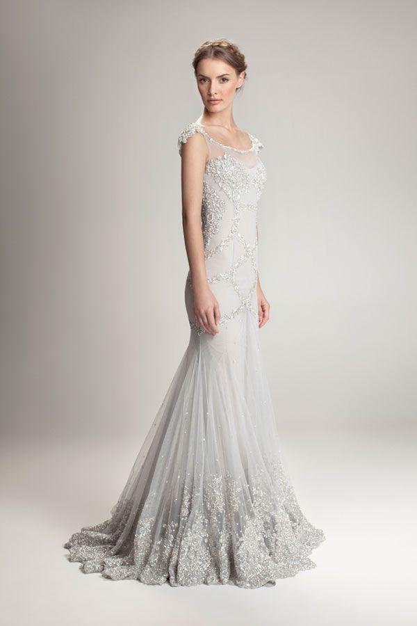 Hamda Al Fahim Silver Silk Beaded Red Carpet Gown