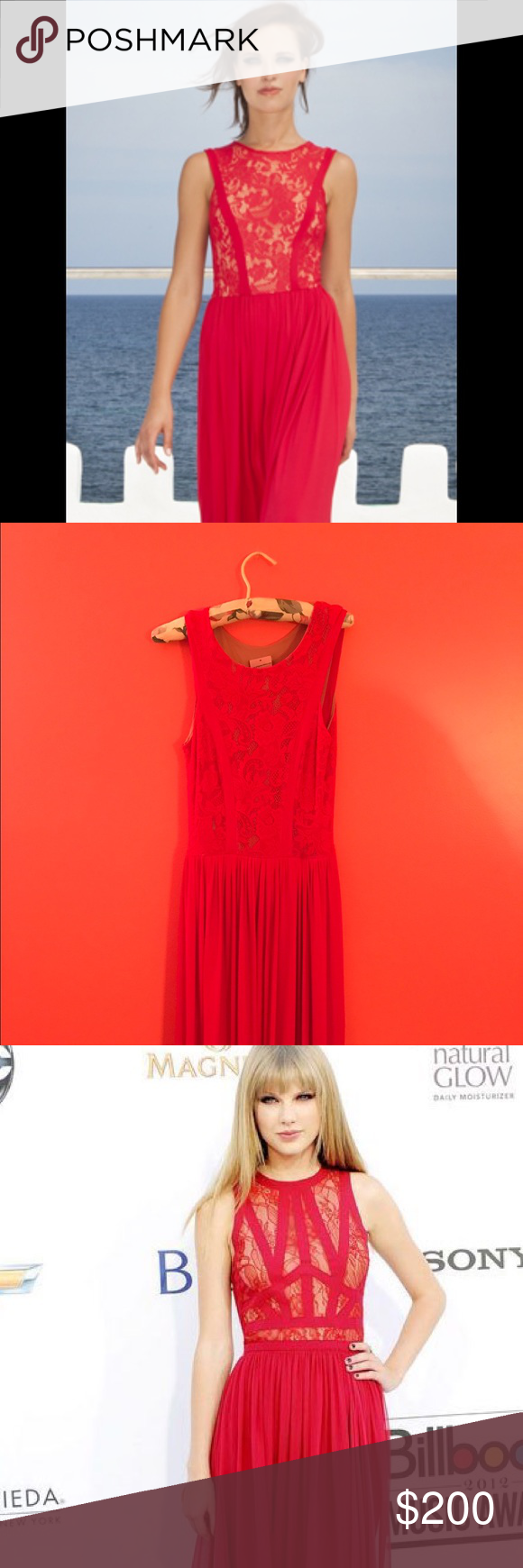 Gorgeous couture red lace dress