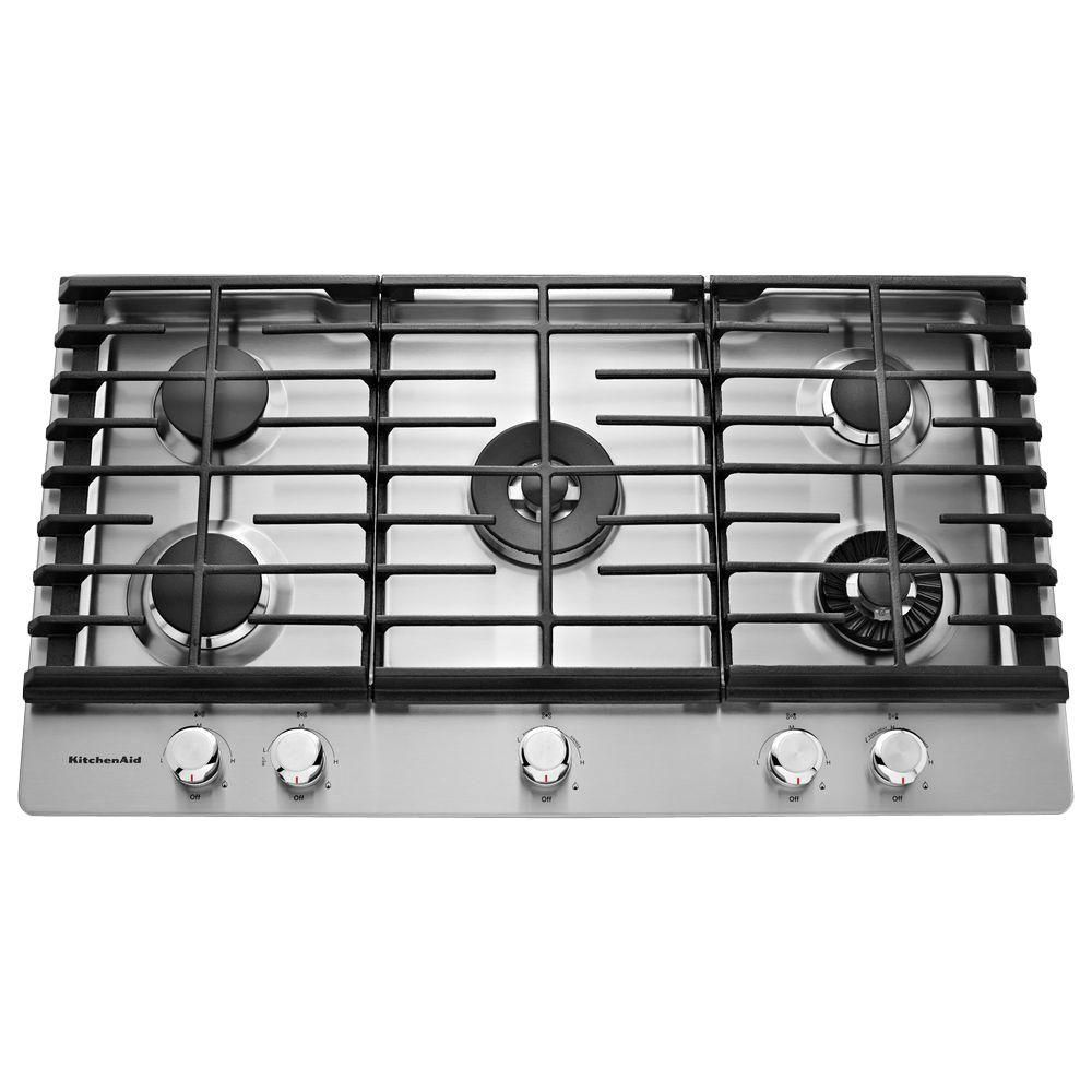Gas Cooktop Kitchenaid 36 In Gas Cooktop In Stainless Steel With 5 Burners Including Professional Gas Cooktop Stainless Steel Cooktop Kitchen Aid