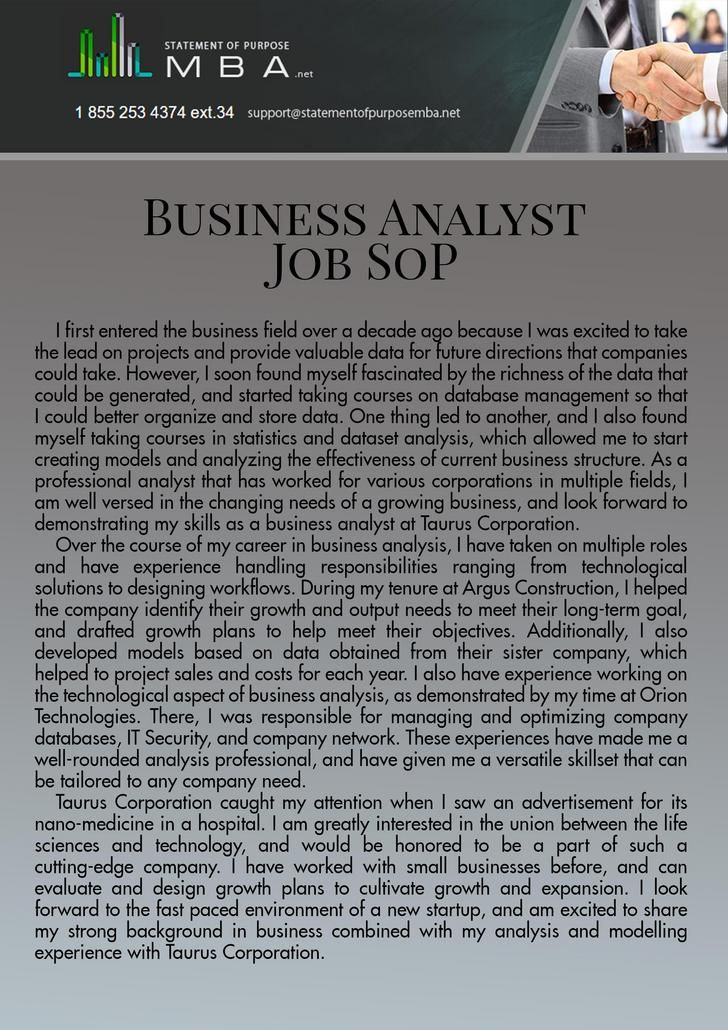 Sop For Ms In Business Analytics Data Analyst Professional