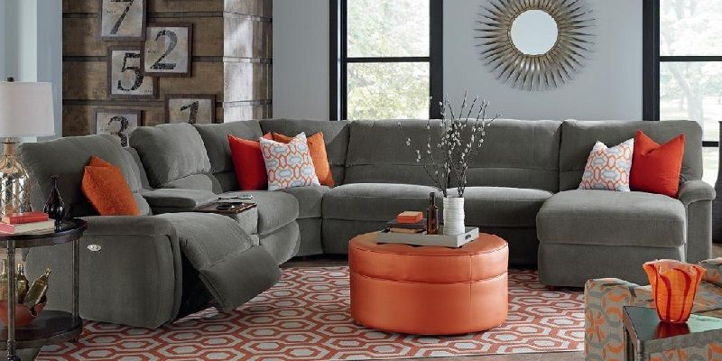 Grey Fabric Modular Sectional Sofa With Storage And Cup Holders