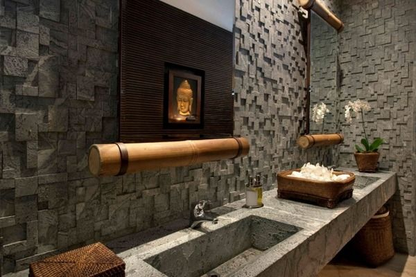design ideas bathroom with asian-style buddha images wood natural