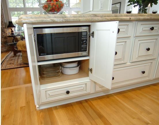 Shiloh Montgomery Maple Cabinets With A Polar White Painted Finish And A  Pewter Glaze In Kitchen And Study. A Cabinet Was Created To House The  Microwave As ...