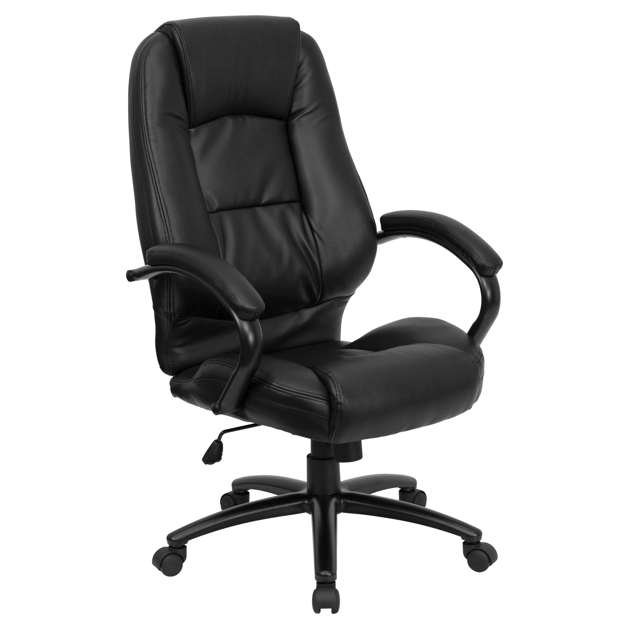 high back executive swivel office chair black leather flash