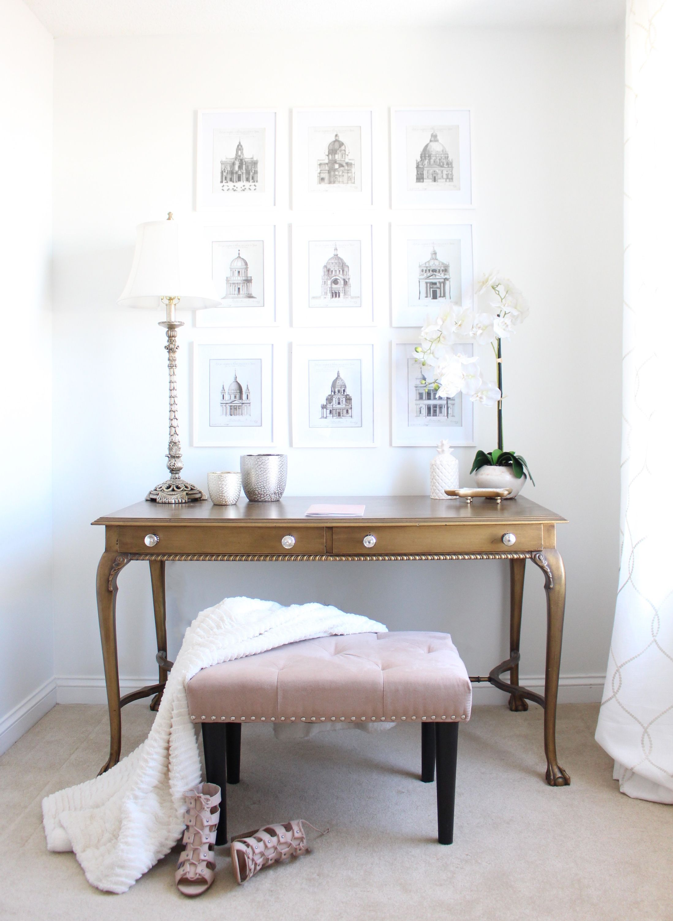 crafting the prettiest guest bedroom meets office space on a