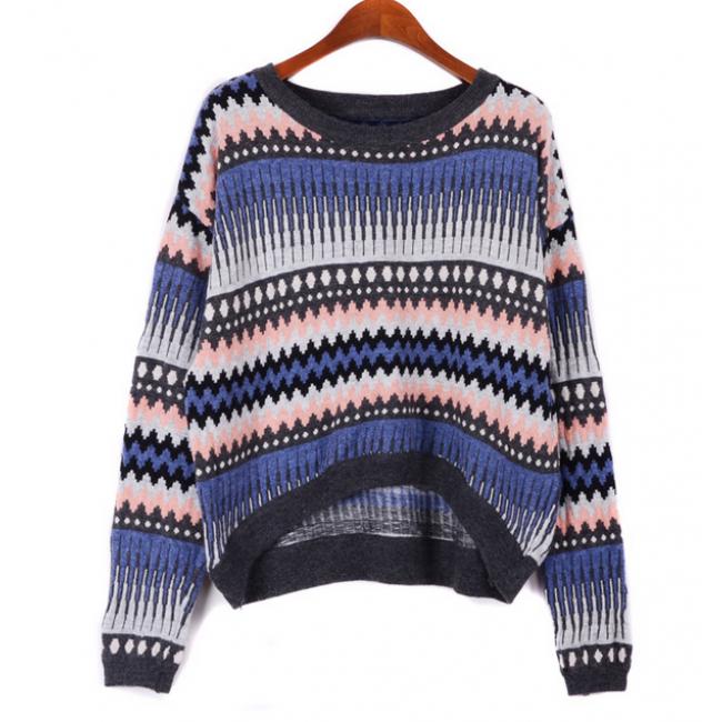 Gray Purple Contrast Woolen Vintage Striped High Low Sweater