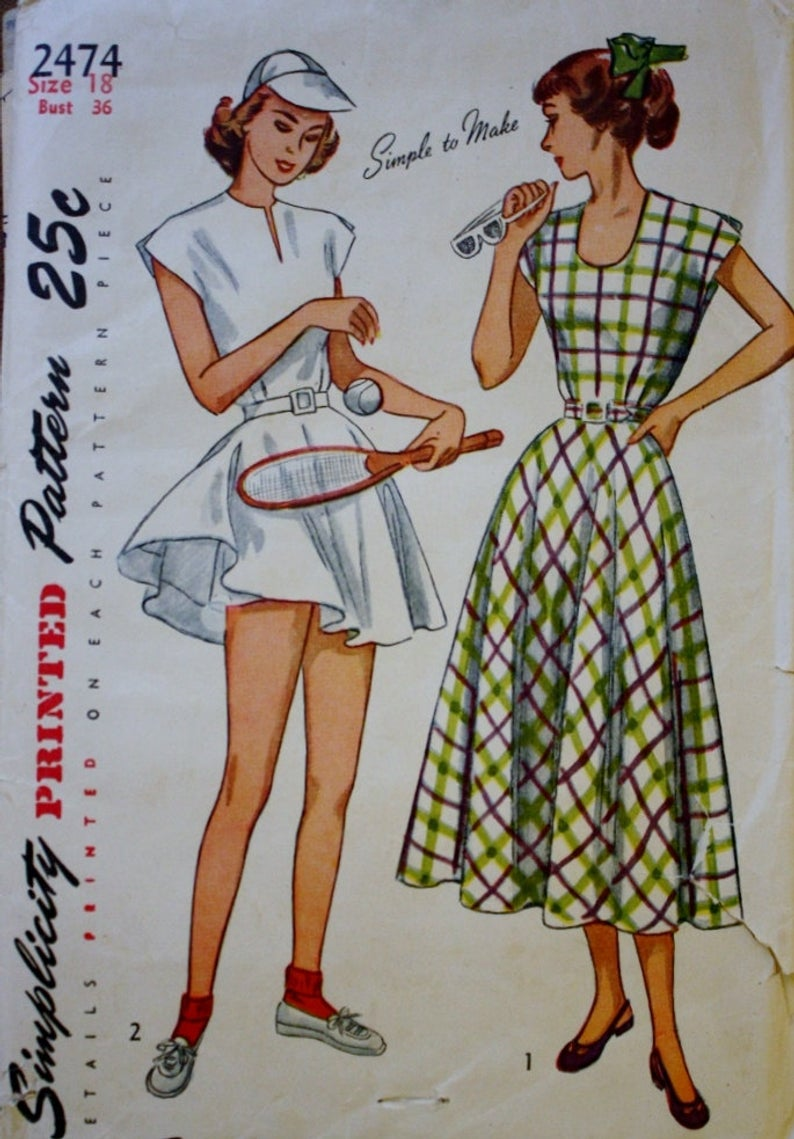 One Piece Tennis Dress Or Sun Dress Shorts Sewing Pattern Etsy Tennis Dress Tennis Clothes Vintage Sewing