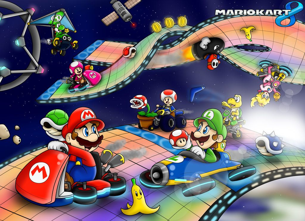Mario Kart 8 Wallpaper By Superlakitu Deviantart Com On Deviantart Mario Kart 8 Rainbow Road Mario Kart Super Mario Art