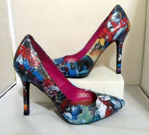 fc73ea02fd1e Harley Quinn and Joker Comic Book High Heels - Made to Order by  custombykylee on Etsy.com