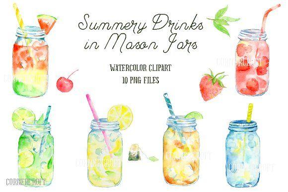 Watercolor Mason Jar Drinks By Corner Croft On Creativemarket