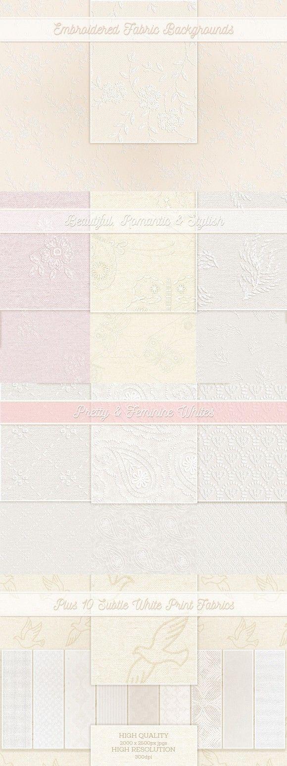 Wedding Whites Embroidery. Textures. $5.00