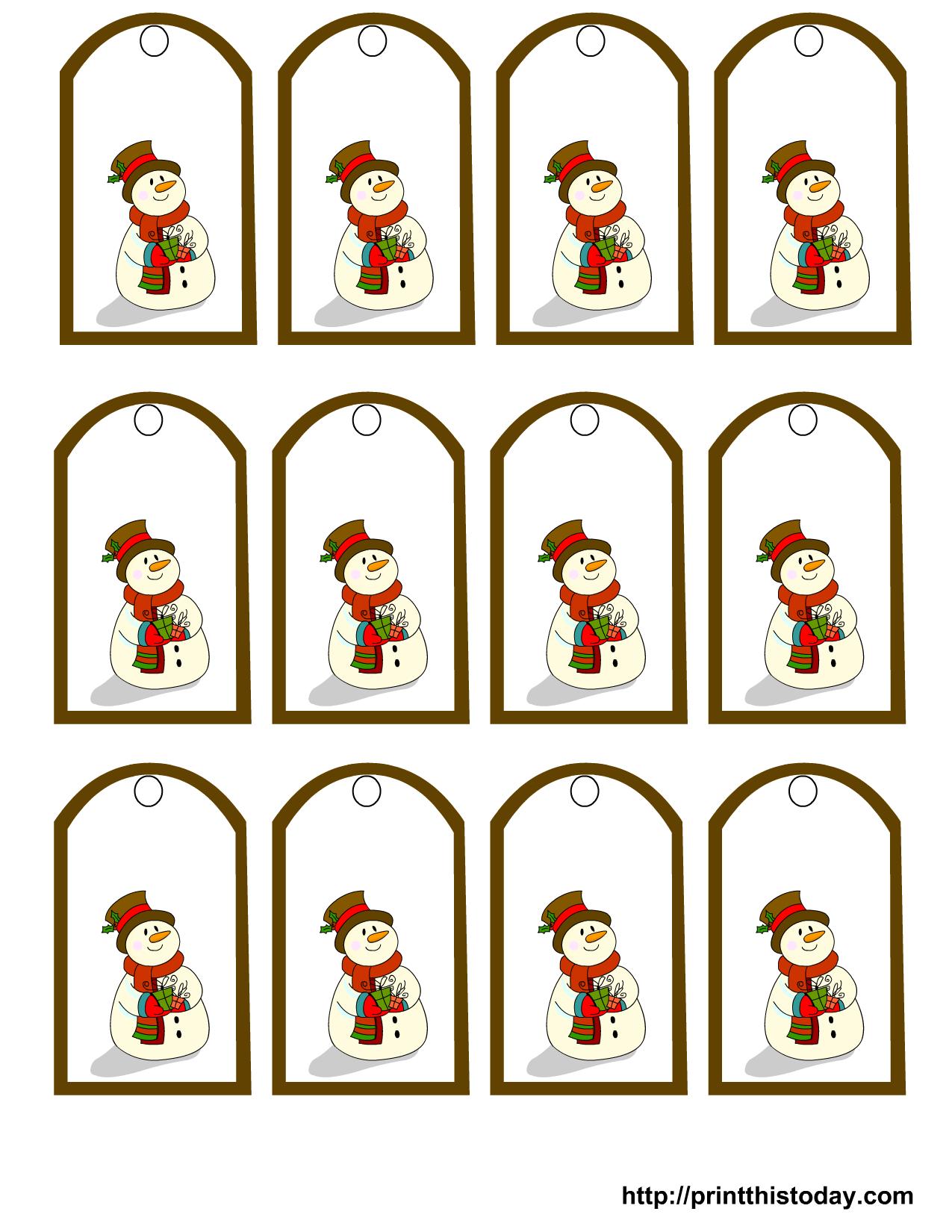 Free Printable Snowman Christmas T Tags