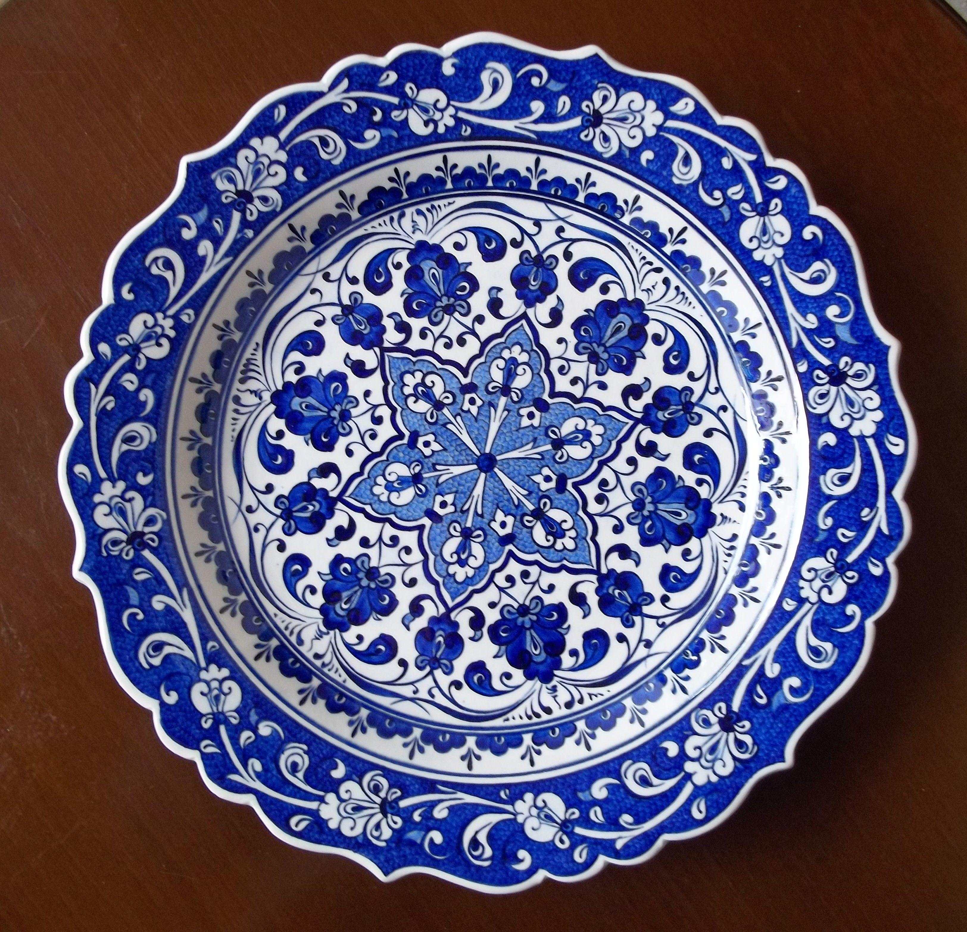 Ceramic Plate Kutahya Mavi Ve Beyaz Seramik